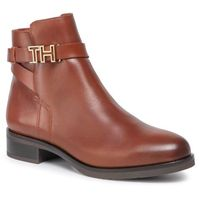 Botki TOMMY HILFIGER - Th Hardware Leather Flat Bootie FW0FW04280 Ginger Bread 202