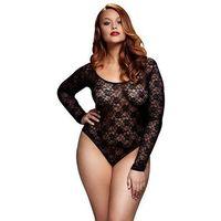 Body - Baci Black Lacy Bodysuit Back Cutout Queen Size, kolor czarny