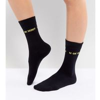 u ok hun socks - black, Adolescent clothing