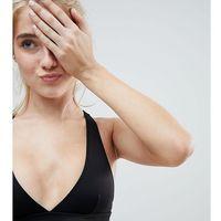 Monki Mix And Match Cross Back Plunge Bikini Top - Black, bikini