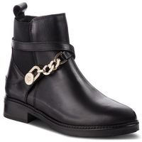 Botki TOMMY HILFIGER - Th Chain Bootie Leat FW0FW03311 Black 990