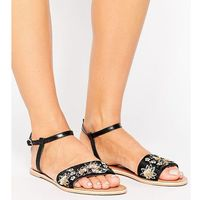 Asos fizzy wide fit leather embellished flat sandals - black