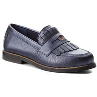 Półbuty - metallic leather penny loafer fw0fw03402 tommy navy 406, Tommy hilfiger