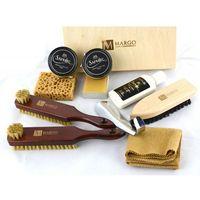 Margo, firmowy 10-el. zestaw do pielęgnacji obuwia w drewnianym pudełku