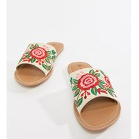 London Rebel Wide Fit Embroidered Slides - Cream, kolor beżowy