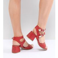 red western studded heeled sandals - red, Lost ink wide fit