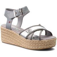 Espadryle TOMMY JEANS - Metallic Flatform Sandal EN0EN00226 Silver 000, w 5 rozmiarach
