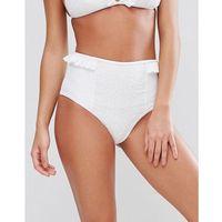 Lost Ink Broderie Frill High Waist Bikini Bottom - White, 1 rozmiar