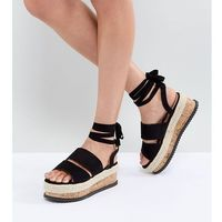 Lost ink black ankle tie flatform sandals - black