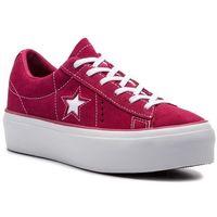 Sneakersy CONVERSE - One Star Platform Ox 563488C Rhubarb/White/White, kolor czerwony