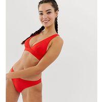 Monki plunge cross back mix & match bikini top in red - red