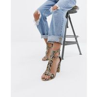 Simmi london snake print zip up detail block heel sandals - beige marki Simmi shoes