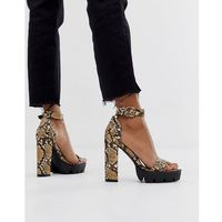 Simmi shoes Simmi london jordan snake chunky heeled sandals - beige