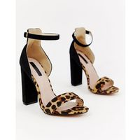Lost ink leopard mix block heeled sandals - multi