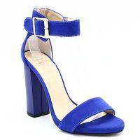 TYMOTEO 2661 SZAFIR - Sandały na słupku, skóra - Granatowy, kolor niebieski