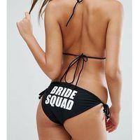 Boohoo Brides Squad Tie Side Bikini Bottom - Black, bikini