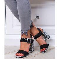 Sandały na słupku Madam Estel czarne