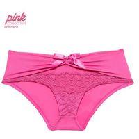 """Figi """"panty"""" Piink Collection, z koronką i marszczeniem bonprix matowy różowy, kolor różowy"""