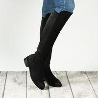 Kozaki zimowe czarne klocek nubukowa/ zamszowa/ welurowa, Vogue carla
