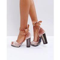 tie up slim platform sandal - beige, Truffle collection