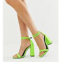 highlight barely there block heeled sandals in neon green - yellow, Asos design