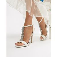 satin embellished heeled sandal - white, New look