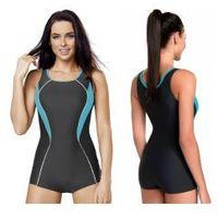 strój kąpielowy damski jednoczęściowy (grafit/turkusowy) (gw10120/3) marki Gwinner