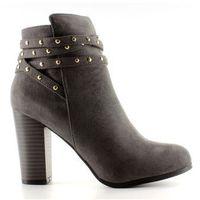 Buty obuwie damskie Zamszowe botki na szerokim obcasie grey