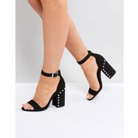 Steve Madden Icey Faux Pearl Block Heeled Sandals - Black