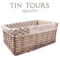 Szuflada wiklinowa /koszyk z ozdobnym materiałem 44x30x18h cm marki Tin tours sp.z o.o.