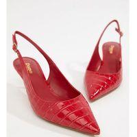 Dune Casanna Wide Fit Kitten Sling Back Heels - Red, kolor czerwony