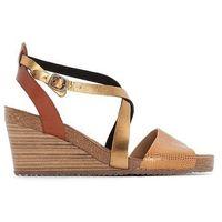 Sandały skórzane na koturnie SPAGNOL, kolor brązowy