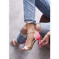 Beżowo-Fuksjowe Neonowe Sandały Pictures Of Vogue, kolor beżowy