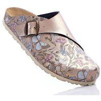 Kapcie złocisto-brunatny w kwiaty marki Bonprix