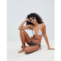 Asos design recycled mix and match triangle bikini top in mono spot print - white