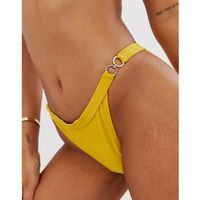 Missguided high leg bikini brief with chain detail in yellow - yellow
