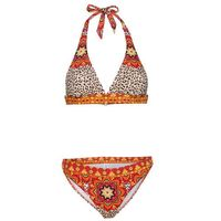 Bikini z ramiączkami wiązanymi na szyi (2 części) czerwono-pomarańczowy leo z nadrukiem, Bonprix, S-XXXL