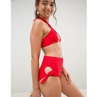 New Look Textured Highwaist Bikini Bottom - Red, bikini