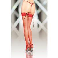 Stockings 5539 - red pończochy kabaretki ze szwem, kabaretki
