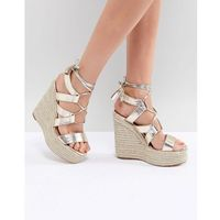 metallic cut out tie up wedges - gold, River island