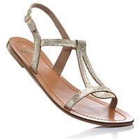 Sandały skórzane złoty marki Bonprix