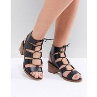 Office misteria leather lace up block heeled sandals - black