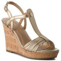Sandały - refined strappy wedge sandal fw0fw03369 light gold 708 marki Tommy hilfiger