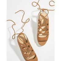 Aldo suede tie up flatform espadrille sandals - tan