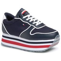 Sneakersy - piped flatform sneaker fw0fw04702 desert sky dw5, Tommy hilfiger, 38-41