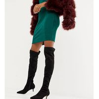 over the knee heeled boots in black - black marki Miss selfridge