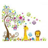 Naklejka ścienna xxl drzewo kolorowe i zwierzaki marki Italhouse