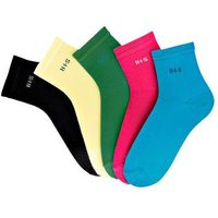 Krótkie skarpetki H.I.S (5 par) bonprix zielony + różowy + turkusowy + jasnożółty + czarny, kolor zielony