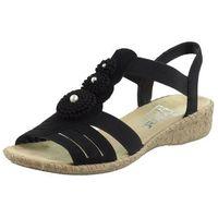 Sandały letnie czarny płaska podeszwa inny materiał, Rieker