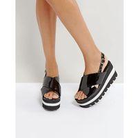 Qupid Layered Flatform Sandal - Black, kolor czarny